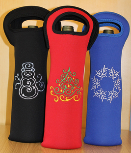 Wine Koozies make great hostess gifts, embroidered with a festive design or  a monogram. These neoprene koozies can keep a chilled bottle of wine cold  for ...