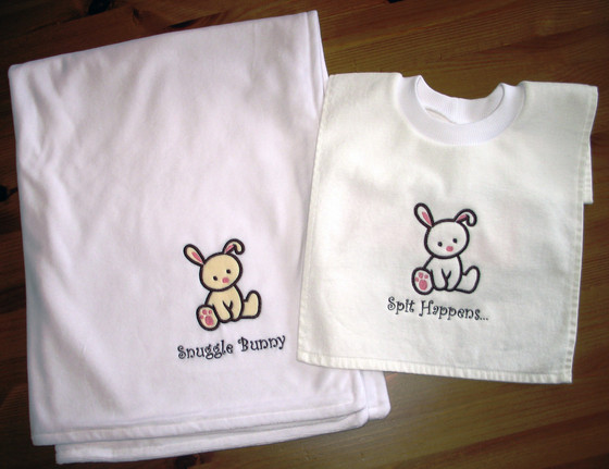 Machine embroidery deboras custom stitches baby gifts embroidered with a cute phrase or the babys name theyll keep baby comfortable and looking stylish fabric available in red blue pink negle Choice Image